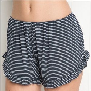 Brandy Melville Striped Ruffle Trim Shorts, OS